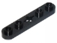 Technic, Plate 1 x 5 with Smooth Ends, 4 Studs and Center Axle Hole, schwarz