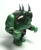 Big Figure - Fantasy Era - Troll, Sand Green with Pearl Dark Gray Armor, 2 White Horns and 3 Pearl Light Gray Horns