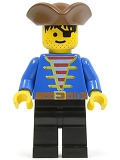 Minifig No: pi007 Name: Pirate Blue Shirt, Black Legs, Brown Pirate Triangle Hat, Red-Brown Hair
