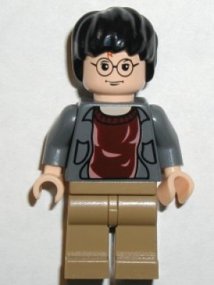 Harry Potter, Dark Bluish Gray Open Shirt Torso, Dark Tan Legs