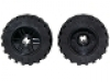 Wheel 18mm D. x 14mm with Axle Hole, Fake Bolts and Shallow Spokes with Black Tire 30.4 x 14 Offset Tread Band Around Center of Tread (55982 / 92402) schwarz