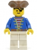 Minifig No: pi009 Name: Pirate Blue Shirt, White Legs, Brown Pirate Triangle Hat